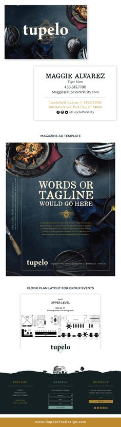 tupelo restaurant business card design, rustic advertisement and more by Dapper Fox in Park City