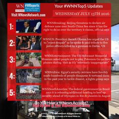 Welcome to your #WNNtop5 news updates from #WNewsNetwork