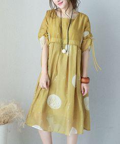 Empire-Waist Polka Dot Chiffon Dress Plus Size Vacation Dress    #dot #yellow #plussize #chiffon #dress #summer #boutique #woman