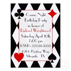 Casino party inviteslove the wording on this one want to do a casino night birthday invitation stopboris Choice Image