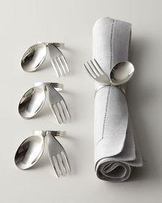 "- Four ""Spoon & Fork"" Napkin Rings"
