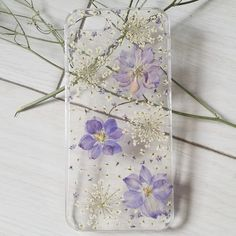 Handmade Pressed Flowers iphone 5 5s 5c iphone 6 case cover Purple with white