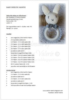 Atelier Valérie: Haak Patronen Crochet For Kids, Crochet Baby, Baby Jokes, Crochet Hair Accessories, Baby Bjorn, Bead Crochet Rope, Baby Teethers, Amigurumi Doll, Crochet Animals