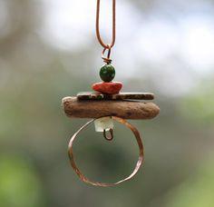 Unique Pendant Boho Hippie Style in copper and gems