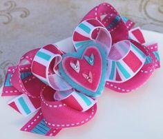Valentine's Hair Bow Heart Hair Clip Blue Pink Boutique Bows Baby Girls Hair Accessories -D2. $5.99, via Etsy.