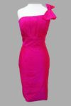 Siri - Bridesmaids Dresses - San Francisco Special Occasion Dresses - Sausalito Dress 9342 -The Sausalito Dress features a single shoulder strap adorned with a bow, pleated bodice, and slimming sheath skirt. It's crafted in a beautiful, jewel tone fuchsia that will be the center of attention.