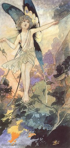 ≍ Nature's Fairy Nymphs ≍ magical elves, sprites, pixies and winged woodland faeries - Illustration by Charles Robinson Fairy Dust, Fairy Land, Fairy Tales, Illustrations, Illustration Art, Art Magique, Kobold, Vintage Fairies, Flower Fairies