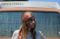 Bohemian head scarf to add a splash of color to your outfit.