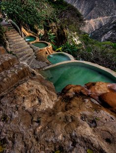 Hot water springs at Grutas de Tolantongo, Hidalgo, Mexico (by Luisus Rasilvi). Like I picture the hot pools in the books