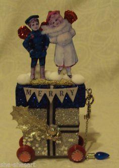 altered art fairy block CHRISTMAS MERRY couple vtg ORIGINAL mixed media collage