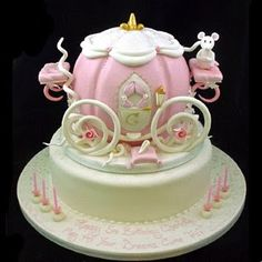 """Wonderfully detailed """"Cinderella's Pumpkin Coach"""" fairytale cake created by Jane Asher Party Cakes and Sugarcraft in London, England....amazing design, and love the tiny mouse!!!"""