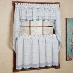 n 100 percent cotton classic white blue window pane pattern and crotchet trim kitchen curtains valance whiteblue size 12 x 60 all cotton geometric - Menards Curtains