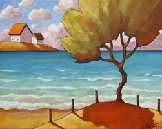 Coastal Summer Beach Tree Art Print 8x11 Modern Folk Art Giclee by Cathy Horvath, Seaside Cottages Landscape Lakeside Artwork Reproduction