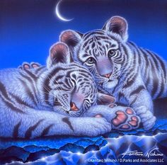 """""""Two Babies"""" White Tigers, Acrylic on canvas, 2010"""