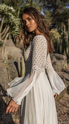 asaf dadush 2018 bridal long lantern sleeves deep v neckline heavily embellished bodice romantic bohemian soft a line wedding dress open back sweep train (2) sdv -- Asaf Dadush 2018 Wedding Dresses