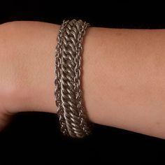 Vintage Goldette Silver Tone Bracelet with Safety Chain.