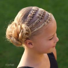 """Hallie wanted 3 French braids to side messy bun! I love that my girls want to choose their hairstyles everyday & that's my secret to get them to…"""