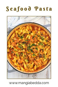 Pasta with seafood in a fragrant tomato sauce! #seafoodpasta Frozen Seafood, Fresh Seafood, Fish And Seafood, Tim Tam, Seafood Pasta Recipes, Good Food, Yummy Food, Homemade Pasta, Mediterranean Recipes