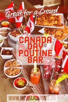 The Great Canadian Poutine Bar - the perfect Canada Day menu for a crowd. Quick, fun and easy to put together - this is the true Canadian meal! Canadian Dishes, Canadian Food, Canadian Snacks, Canadian Culture, Canadian Recipes, Canada For Kids, Canada 150, Canada Celebrations, Canadian Party