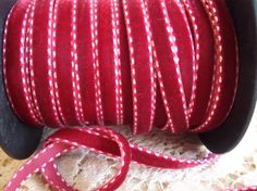 Dark Red Double Stitched Velvet Ribbon by LaurasVintageGarden, $1.10