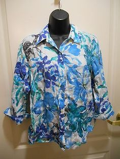 Lauren Ralph Lauren Petite Large Button Down 100% Linen Shirt Floral Print
