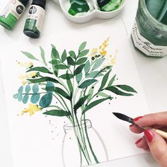 Some green vibes today 😉🌿 have a lovely day 💕 . Watercolour Painting, Watercolor Flowers, Painting & Drawing, Watercolors, Art Challenge, Botanical Art, Art Tutorials, Painting Inspiration, Art Projects