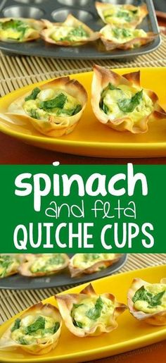 mini spinach and feta quiche cups :: these crispy won-ton breakfast cups are quick, easy, and so delicious!