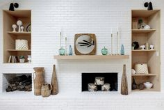 New Totally Free Brick Fireplace mid century Concepts Mid century ranch remodel, vaulted white ceiling with beam, large windows, white walls, and light w Brick Fireplace Remodel, Brick Fireplace Wall, Brick Fireplace Makeover, Fireplace Shelves, Fireplace Built Ins, White Fireplace, Fireplace Design, Library Fireplace, Farmhouse Fireplace