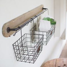 Wood and Metal Wall Bracket with 2 Wire Baskets | eBay