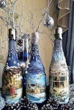how to fabric decoupage wine bottle ile ilgili görsel sonucu
