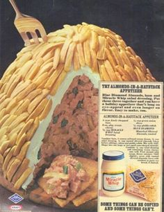 Almond in a Haystack: ham, almonds, and a thick layer of MIRACLE WHIP. I like Miracle Whip but not this much Retro Recipes, Old Recipes, Vintage Recipes, Cooking Recipes, Gross Food, Weird Food, Crazy Food, Pepperoni Dip, Ham Wraps
