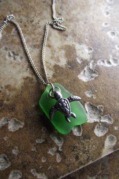 Love... Sea Glass & Sterling Turtle... <3