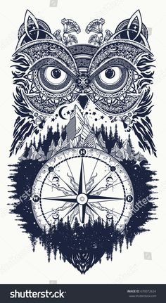Owl and compass tattoo art. Owl in ethnic celtic style t-shirt design. Owl tattoo symbol of wisdom, meditation, thinking, tourism, adventure