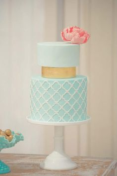Elegant Icy Blue Tiered Cake Picture