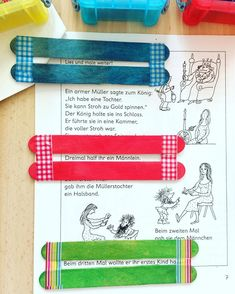 """""""Lesehelfer"""" schnell und einfach hergestellt  Bastelstäbchen mit washitape umwickeln. Praktisc"""