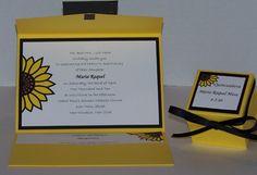 Sunflower Quinceanera pocket fold invitations