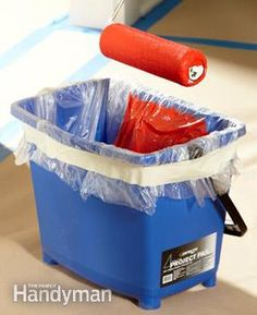 Painting Tips: How to Paint Faster: The Family Handyman - Replace your roller with a pail - Line the pail to simplify cleanup