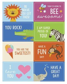 Over thirty of my favorite printable lunch box notes to slip in your kid's lunch this year when they go back to school! Stock up on these lunch box notes! Lunchbox Notes For Kids, Kids Notes, Kids Lunch For School, School Lunches, College Lunch, Kindergarten Lunch, Toddler Lunches, Kid Lunches, Jokes For Kids