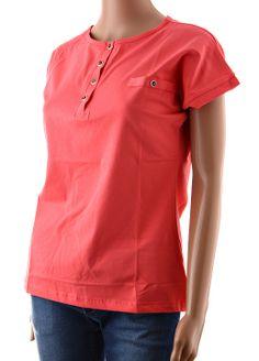 Dámska oranžovo-červená polokošeľa s krátkym rukávom. Polokošeľa má falošné vrecko ozdobené pekným gombíkom, rukávy sú taktiež ozdobené gombíkom. Materiál trička obsahuje elastan pre vyššiu pružnosť. http://www.yolo.sk/damske-tricka-bluzky/cervena-damska-polokosela-esta