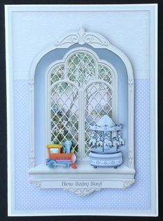 New Baby Boy Ornate Arched Window Mini Kit by Sue Soules I printed the sheet onto satin photo paper. Cut out the main picture and attached it to a white card blank. The decoupage was added using foam pads. The insert was printed onto 120gsm white paper.