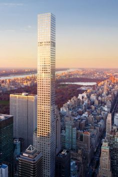 """Simplicity in design/engineering. At 600' tall, the forthcoming 432 Park Avenue in New York City (designed by Rafael Viñoly Architects, engineering by WSP Cantor Seinuk, expected completion in 2015) features a robust core and a load-bearing facade """"frame"""" comprised of columns and beams that house 10' x 10' square windows. Aside from those structural elements, the interiors are free of all structures and partitions."""