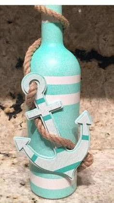 Coastal/nautical anchor home decor wine bottle by harriet