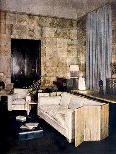 Jean-Michel Frank The smoking room of Charles de Noailles and Marie-Laure's hotel Bischoffsheim on Place des Etats-Unis in Paris. circa 1926
