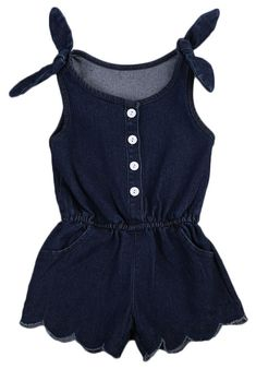 21160dd857d1 Tie Shoulder Denim Romper. Cute Outfits For Kids