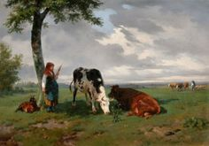 Rosa Bonheur, Shepherdess and Two Cows in a Meadow, c.1842-5, by Rosa Bonheur (1822–1899)