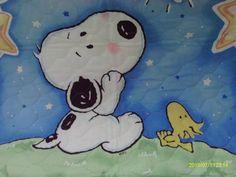 Baby Snoopy and Woodstock Quilt Charles Shultz, Fairy Tale Story Book, Baby Snoopy, Joe Cool, Starry Nights, Charlie Brown And Snoopy, Snoopy And Woodstock, Peanuts Gang, Having A Baby