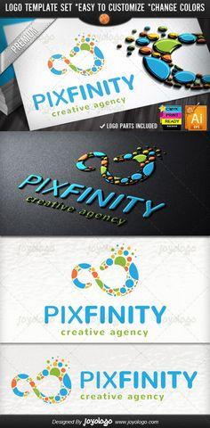 Eternity Pixel Dots Creative Agency Infinity Logo Template