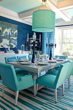 Inspired by the BHG Color Palette of the Year - I'm loving navy and pool as a combo, like in this amazing Mabley Handler room at Hamptons Showhouse.