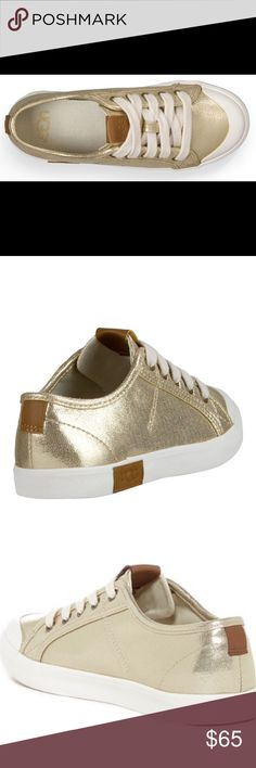 """UGGS Mikki """"Gold """" Sneakers The UGGS Canvas Mikki Sneakers are fitted with a cushy insole, vulcanized durable outsole. The Mikki has all the traction and comfort you'll need for a long day. Let your style smarts shine with this sparkly sneaker. This is a size 6 that runs a half size larger. NWOTB, New without the 📦 UGGS Shoes Sneakers"""
