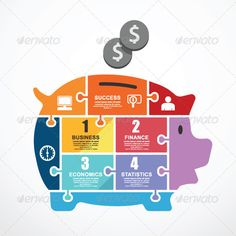 Infographic Template  Piggy Bank Jigsaw Banner - Infographics